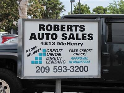 Roberts Auto Sales SIgn, Modesto, CA