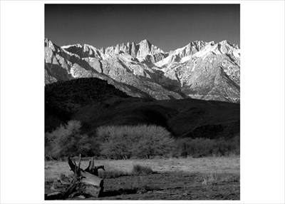 Winter Sunrise of Mt Whitney from Lone Pine - image made February 2010 - Hasselblad 500 CM  150mm Lens Black and White Film