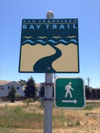 Bay Trail marker on Pedestrian Path, Alameda, CA