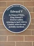 Image for Edward V, Ludlow, Shropshire, England