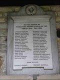 Image for WWI Roll of Honour, St Kenelm, Upton Snodsbury, Worcestershire, England