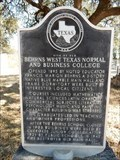 Image for Site of Old Behrns West Texas Normal and Business College