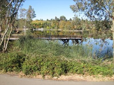 View of the Pier, looking west, Vasona Lake Park, Los Gatos, CA