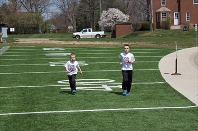 The boys had fun running on the Sport Turf.