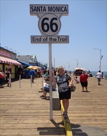 veritas vita visited Route 66 End Sign