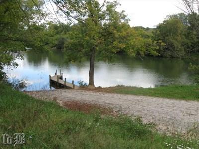 A concrete ramp and pier provide public access into the beautiful Shenandoah River.