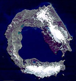 Satellite Image of Deception Island to provide an overview of the island.