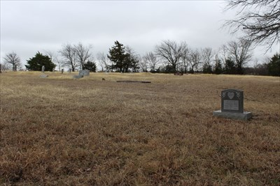Shot across the cemetery from the southwest corner