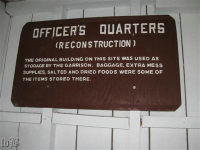 Sign inside the quarters for the officers