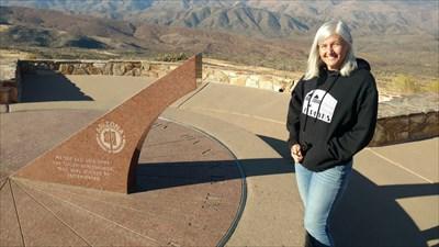 Here's Julie at the DOT memorial sundial.  Very nice memorial!!