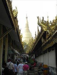 View to the central golden Stupa of the Shwedagon Paya in Yangon, Myanmar