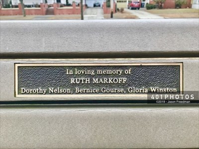 The dedication plaque reads: In loving memory -  RUTH MARKOFF - Dorothy Nelson, Bernice Gourse, Gloria Winston
