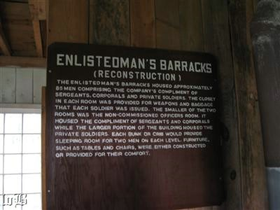 Sign inside the reconstructed barracks for the enlisted men