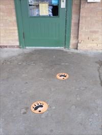 Photo des empreintes insérés dans le ciment du plancher de la terrasse menant à l