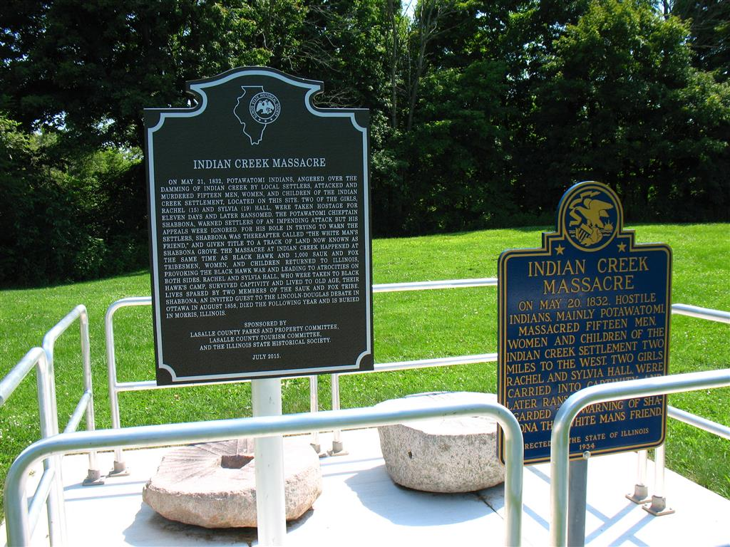 Information plates at the location of the Indian Creek Massacre in Earlville, Illinois
