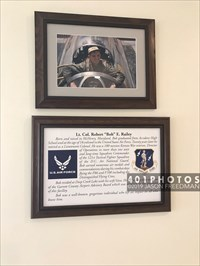 "The Garrett County Airport is named in honor of Lt. Col. Robert ""Bob"" Railey, who was born and raised in McHenry, Maryland, had a 20-year career as a pilot in the U.S. Air Force. These items about him are displayed on a wall next to the service desk."