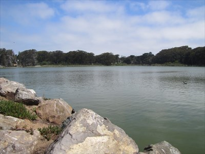 Lake Merced and Rocks at Shore, San Francisco, CA