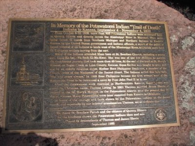 Trail of Death marker, Quincy, Illinois  - Trail of Tears on