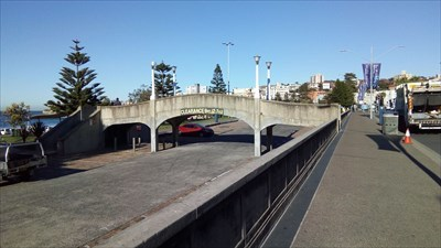 The Campbell Parade bridge over the car park. 0911, Wednesday, 10 July, 2019