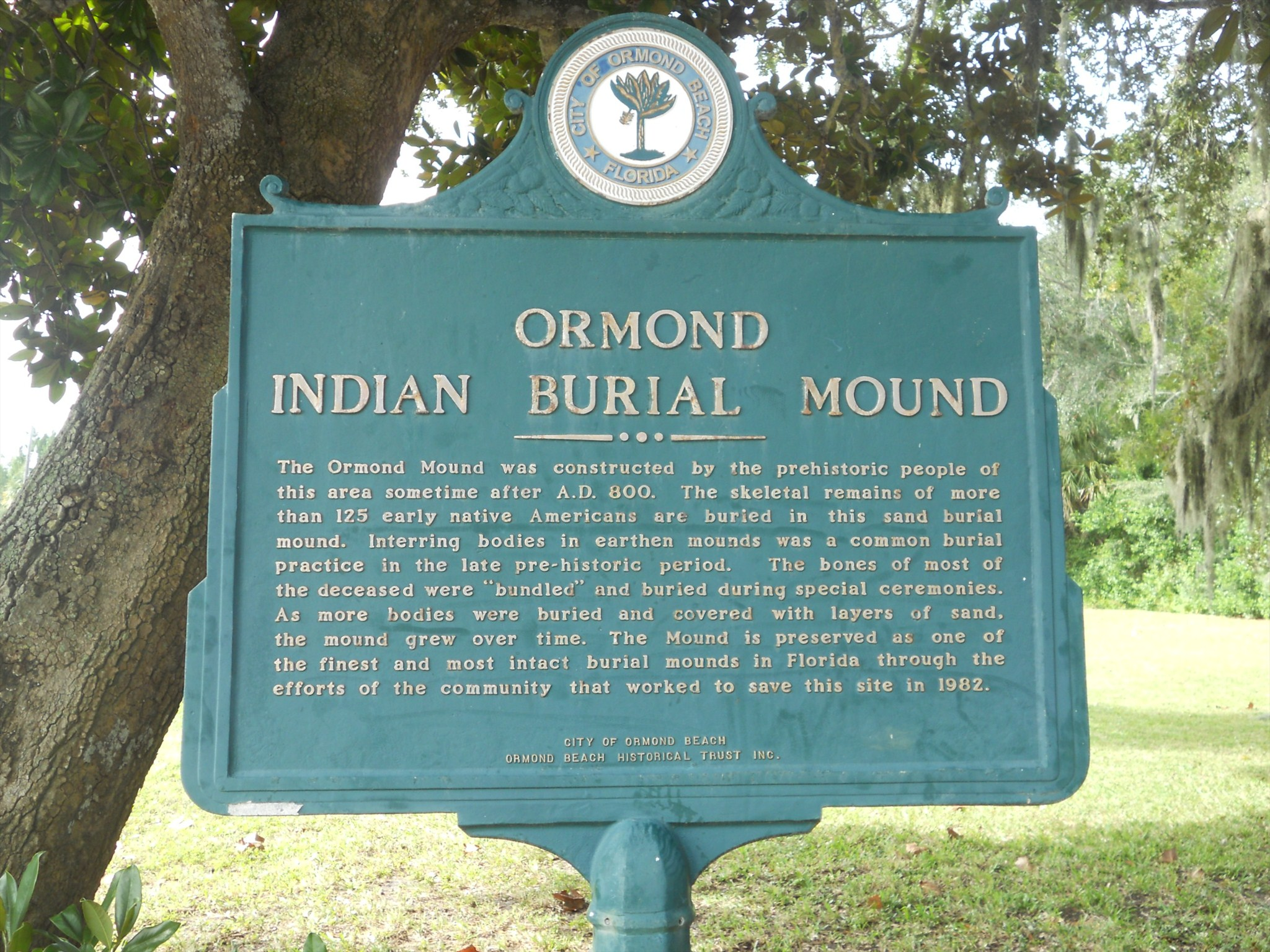 Ormond Indian Burial Mound Historical Marker
