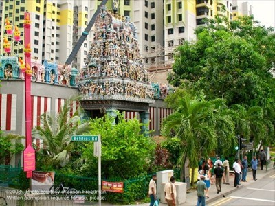 Sri Mariamman Temple - Singapore - Note the Deepavali decorations just visible along the left side of the image.