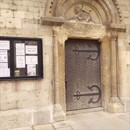 Entrance to Church, benchmark in bottom left in picture.
