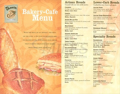 picture regarding Panera Bread Printable Menu named Panera Bread - Cherry Hill, NJ - Takeout / Transport Menus upon
