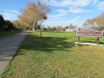 Monta Loma Park Sign and Main Path, Mountain View, CA