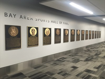 Bay Area Sports Hall of Fame Plaques, From the Left, SFO, Millbrae, California