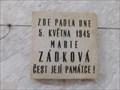 Image for Pametní deska Marie Zádková - Praha, CZ