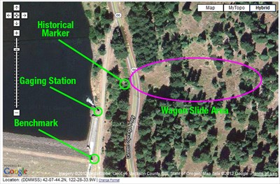 Screen shot of the Wagon Slide area and where a benchmark and a gaging station can be visited and logged.