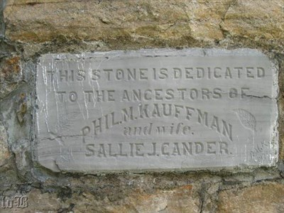 The engraved Kauffman stone is on the left side of the Massanutton monument.