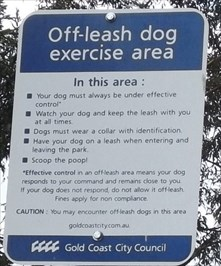 "Cropped photo of the rules for ""Off-Leash Exercise"" for dogs and owners"