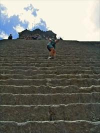 me, hiking up the steps
