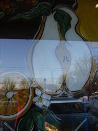 Image sur la fenêtre du magasin.Image on the store window.