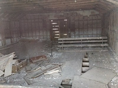 Oak Grove Church - abandoned, by MountainWoods.  Back entrance with the door, which had been propped up, fallen in.