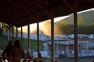 A view of the cowboy parking lot from the Painted Pony Rodeo arena stands.