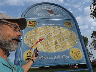 CITOer Grahame Cookie checking out the Mural Walking Trail map.