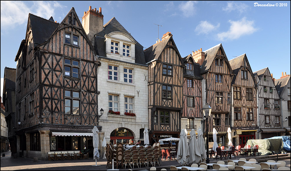 Gothic Burgher Houses At Place Plumereau Tours France Image - Tours france