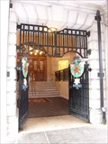 Image for Gates to City Hall in Cardiff, Wales.