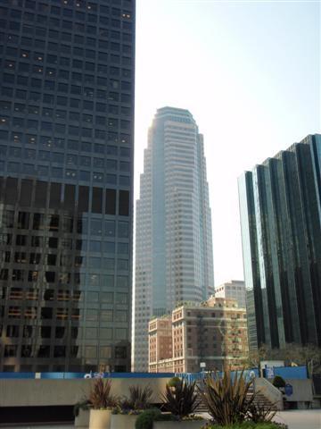 Paul Hastings (left), Sanwa Bank Plaza (Center, back),  Jonathan Club (center front), Manulife Plaza (right)