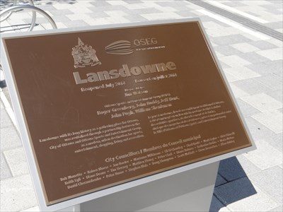 plaque in front of building