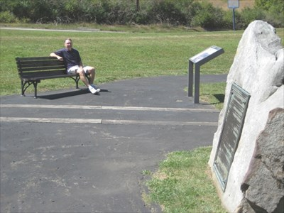 This is me at the bench near the road about 100 yards from the grave monument.