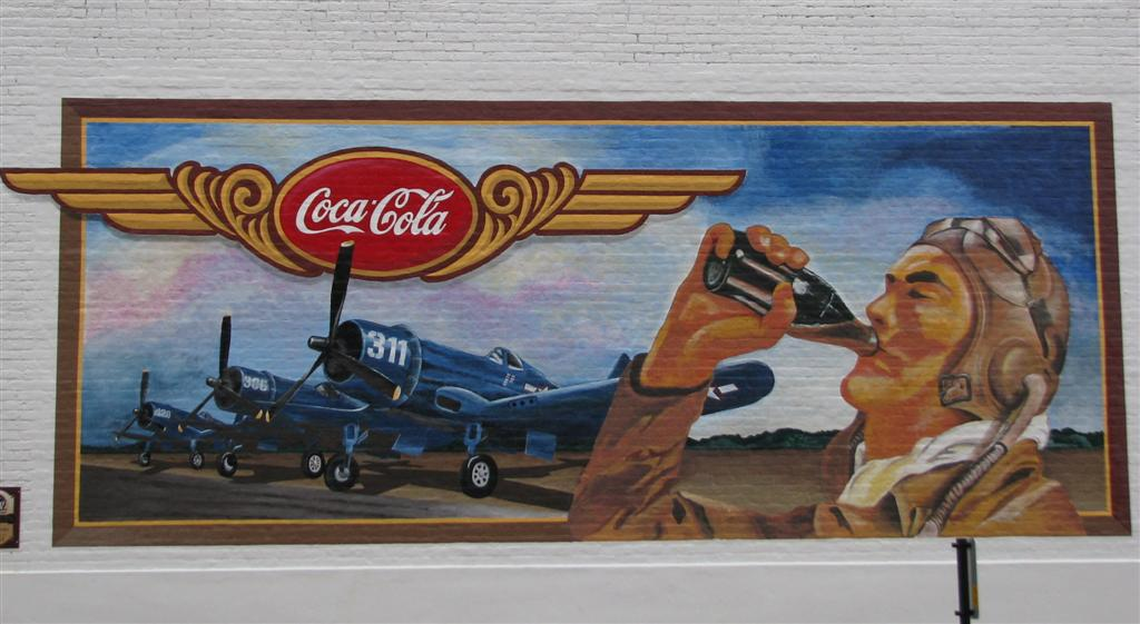 Drink coca cola mural pontiac illinois murals on for Airplane cockpit wall mural