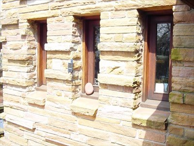 Natural sandstone, natural wood, and classic Wright horizontal lines... GPSr not included.