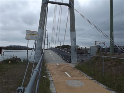 A closer view of the Suspension Pedestrian Bridge at Woy Woy Creek