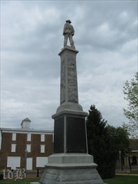 Rear view of the monument with plaques listing the names of soldiers from Warren County.