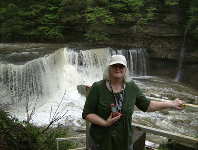 Me (Karen) at the falls