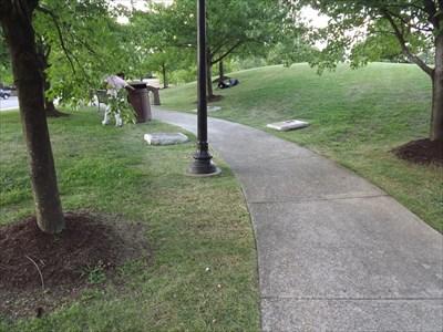 Warfield plaque is on left side of walk.