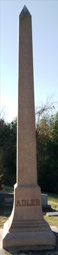 Image for Adler Family Obelisk - Anshe Chesed Cemetery - Vicksburg, MS